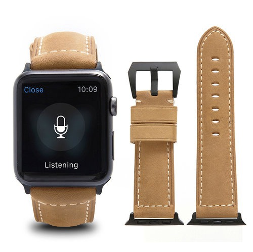 Curea piele naturala, adaptori negri, Apple Watch 5, 4 - 44mm, 1, 2, 3 - 42mm, ROPS Art Luxury by Qialino, Maro camel