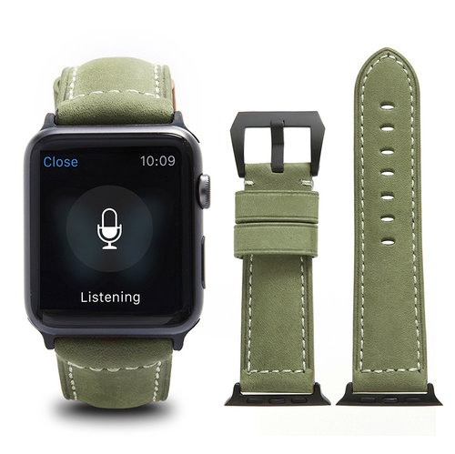 Curea piele naturala, adaptori negri, Apple Watch 5, 4 - 44mm, 1, 2, 3 - 42mm, ROPS Art Luxury by Qialino, Olive green