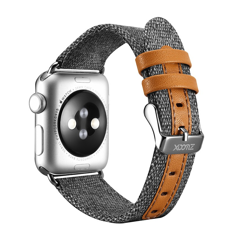 Curea din material textil, Apple Watch SE, 6, 5, 4 - 44mm, 1, 2, 3 - 42mm - Xoomz by iCarer, Gri