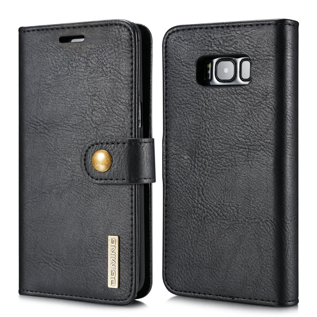 Husa piele, 2 in 1, protectie superioara, inchidere magnetica, tip portofel, back cover, stand, Samsung Galaxy S8 - CaseMe, Negru