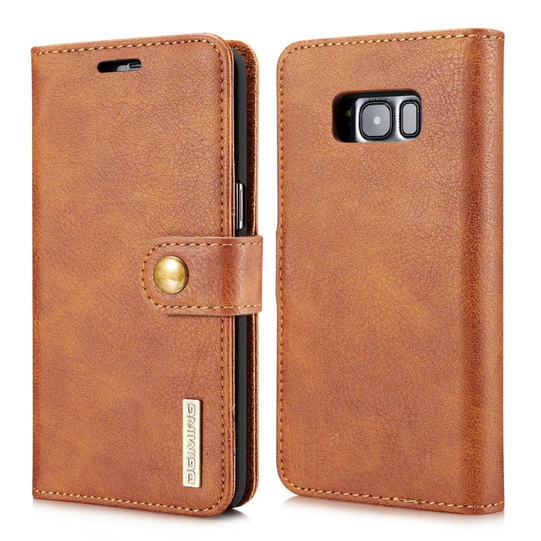 Husa piele, 2 in 1, protectie superioara, inchidere magnetica, tip portofel, back cover, stand, Samsung Galaxy S8 - CaseMe, Maro