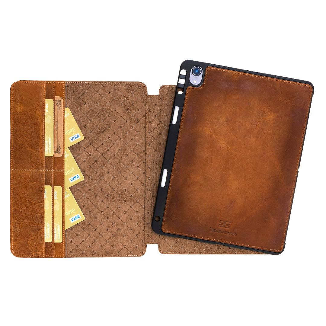 Husa 2 in 1 piele naturala premium, protectie superioara, back cover detasabil, stand, suport pencil integrat, iPad Pro 12.9 (2018) - Bouletta Eto, Antique tan