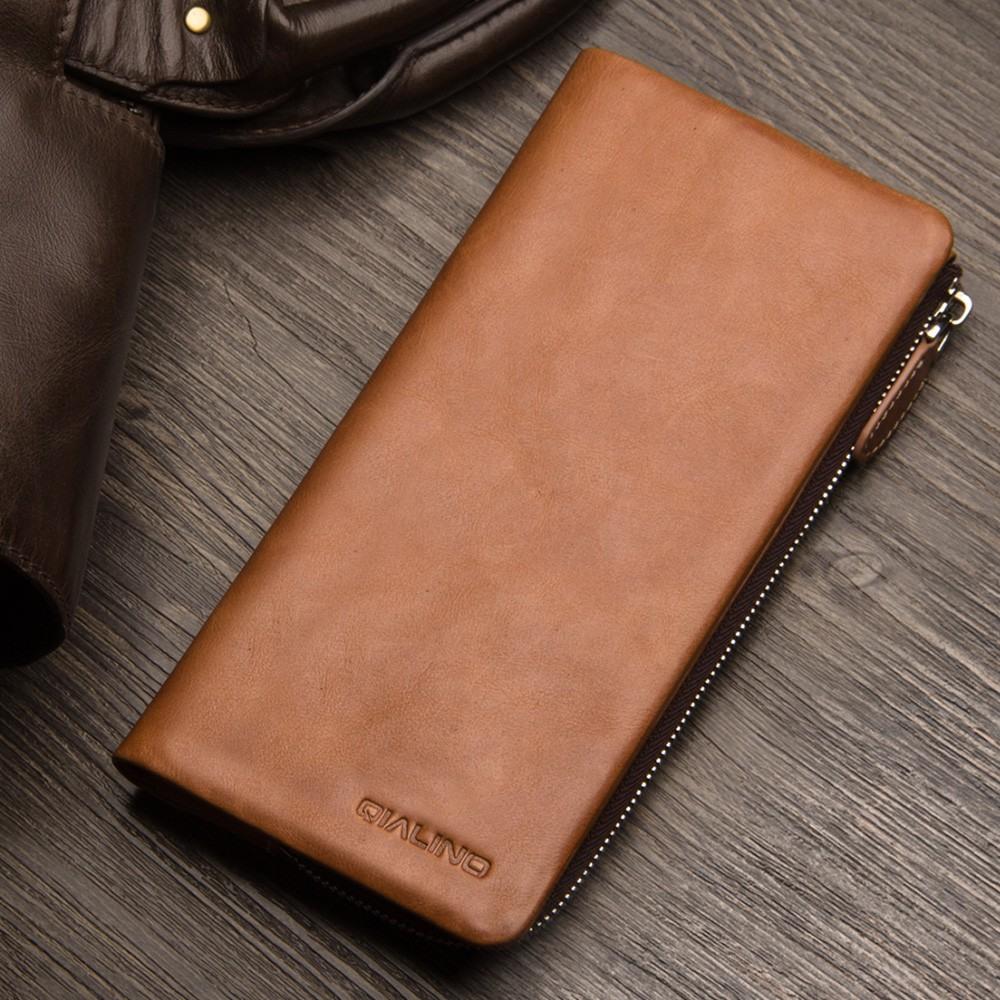 Portofel / Husa universala din piele naturala vintage pentru telefoane pana 175mm - Qialino Vintage Wallet, Maro tabac