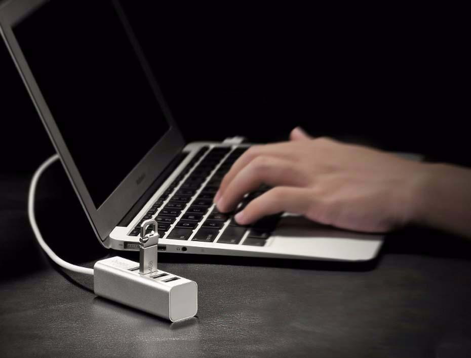 Adaptor / Hub OTG 4 porturi USB suplimentare pentru desktop, laptop cu cablu 80cm - Hoco, Silver