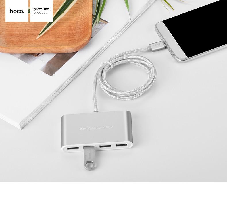 Adaptor / Hub OTG mufa Type-C, 4 porturi USB suplimentare pentru desktop, laptop cu cablu 100cm - Hoco, Silver