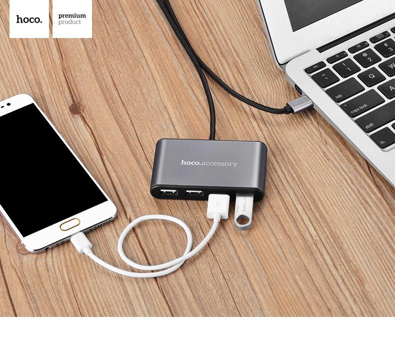 Adaptor / Hub OTG mufa Type-C, 4 porturi USB suplimentare pentru desktop, laptop cu cablu 100cm - Hoco, Space grey