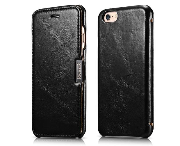 Husa slim din piele naturala, tip carte, inchidere magnetica, iPhone 6 / 6s - iCARER Vintage Side Open, Negru
