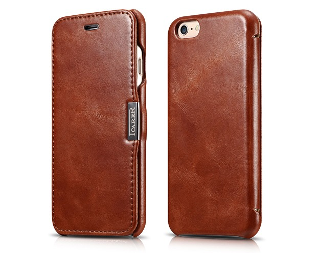 Husa slim din piele naturala, tip carte, inchidere magnetica, iPhone 6 / 6s - iCARER Vintage Side Open, Maro coniac