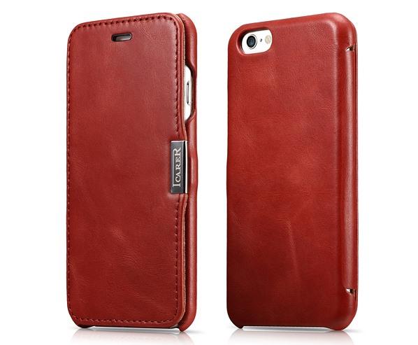 Husa slim din piele naturala, tip carte, inchidere magnetica, iPhone 6 / 6s - iCARER Vintage Side Open, Rosu burgund