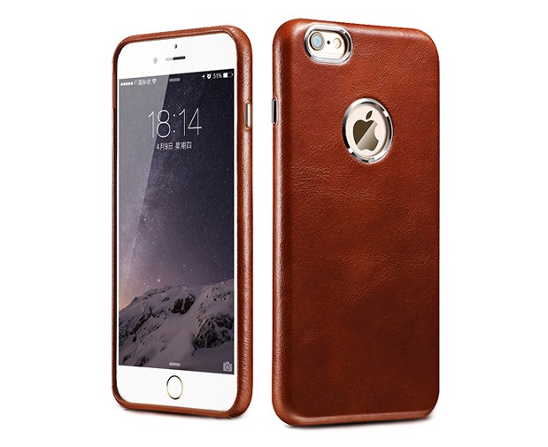 Husa din piele naturala, tip back cover, iPhone 6 / 6s - iCarer Transformers, Maro coniac