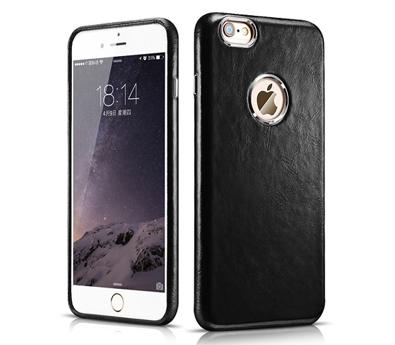 Husa din piele naturala, tip back cover, iPhone 6 / 6s- iCarer Transformers, Negru