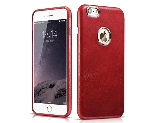 Husa din piele naturala, tip back cover, iPhone 6 / 6s - iCarer Transformers, Rosu burgund