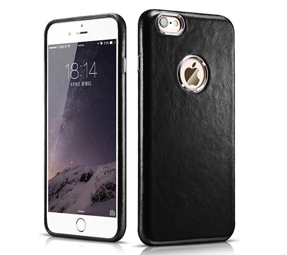 Husa din piele naturala, tip back cover, iPhone 6 Plus si 6s Plus - iCarer Transformers, Negru