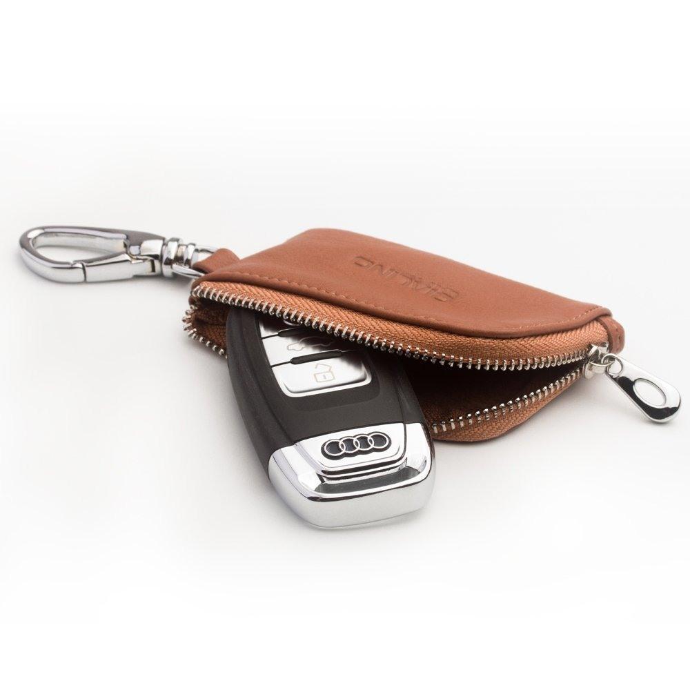 Husa slim din piele moale, cu carabina, pentru AirPods 1 / AirPods 2 / AirPods Pro / Samsung Galaxy Buds Plus, monede / cheie masina - Qialino, Maro tabac