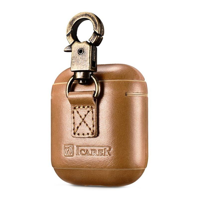 Carcasa / husa protectoare din piele naturala cu carabina pentru AirPods 1 / AirPods 2 - iCarer Vintage, Camel