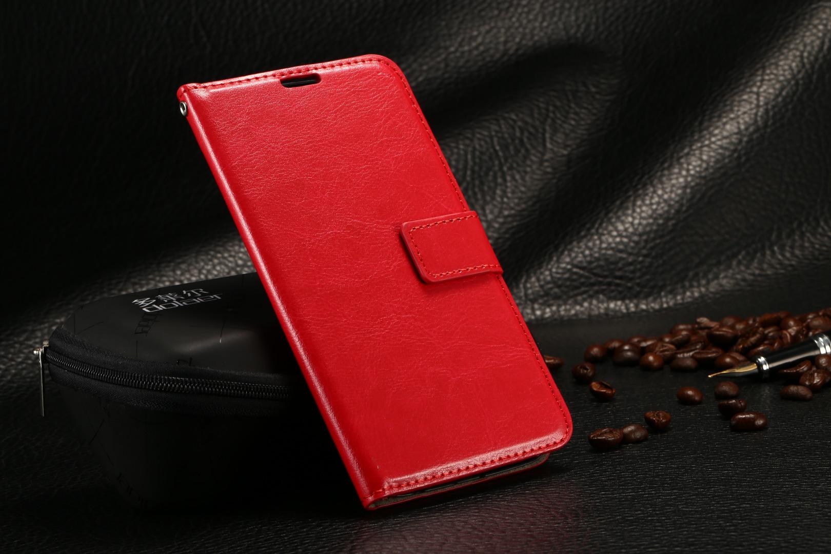 Husa piele fina, tip portofel, inchidere magnetica, stand, suport silicon, Samsung Galaxy S6 Edge - CaseMe, Rosu