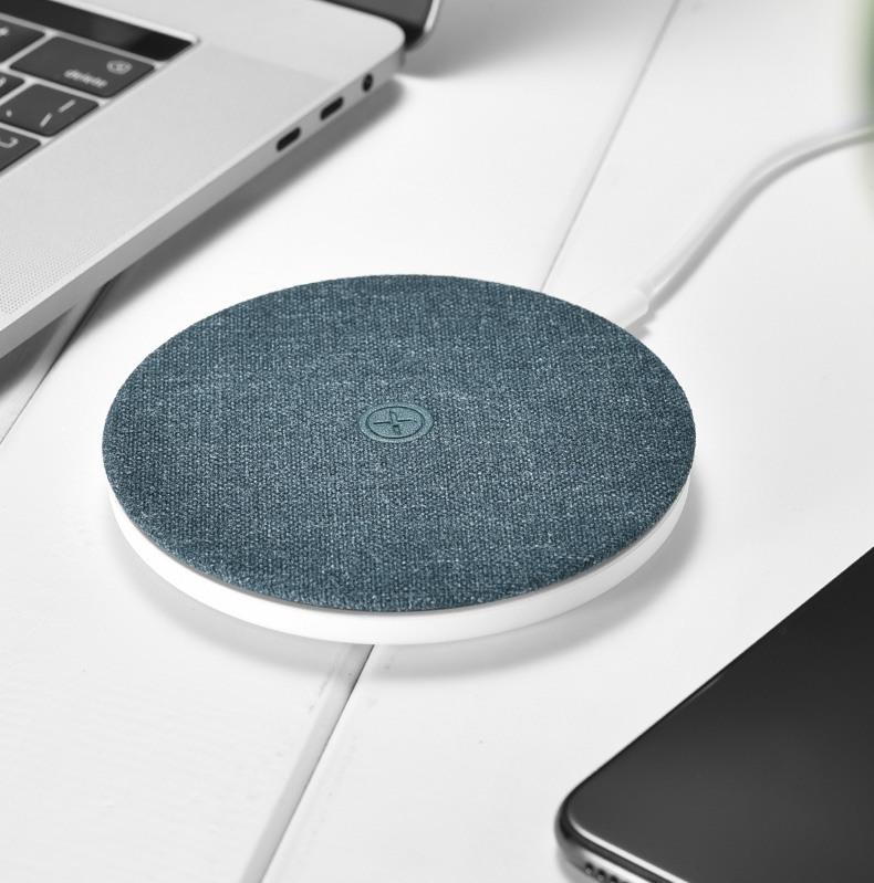 Incarcator rapid wireless, pad textil, cu cablu Type C detasabil, Xoomz by iCarer Fabric, Albastru