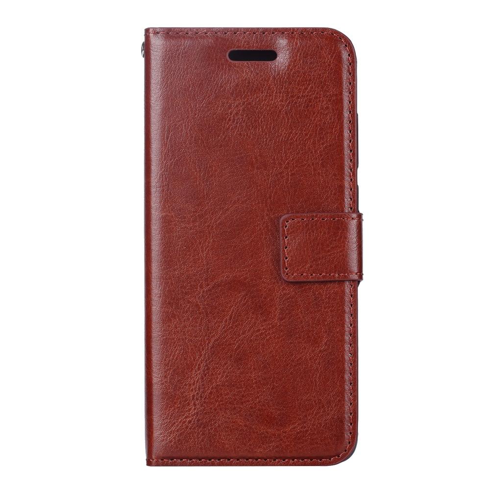 Husa piele fina, tip portofel, inchidere magnetica, stand, suport silicon, Huawei P30 - CaseMe, Maro coniac