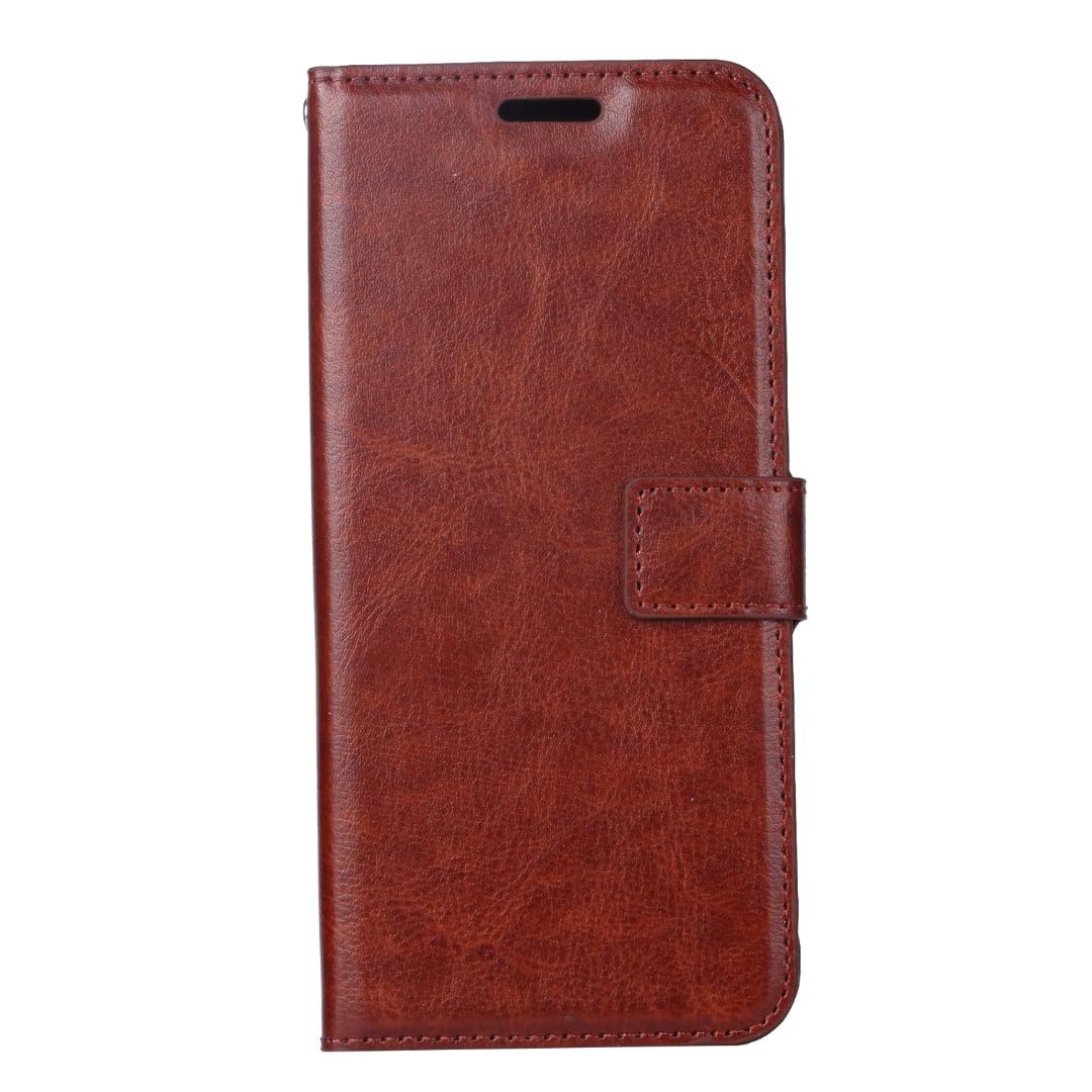 Husa piele fina, tip portofel, inchidere magnetica, stand, suport silicon, Huawei P30 Pro - CaseMe, Maro coniac