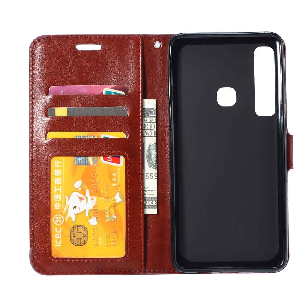 Husa piele fina, tip portofel, inchidere magnetica, stand, suport silicon, Huawei P30 Lite - CaseMe, Maro coniac