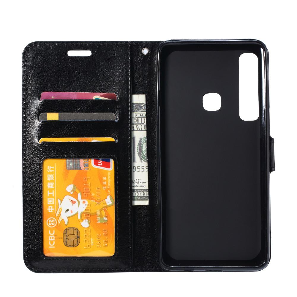 Husa piele fina, tip portofel, inchidere magnetica, stand, suport silicon, Huawei P30 Lite - CaseMe, Negru