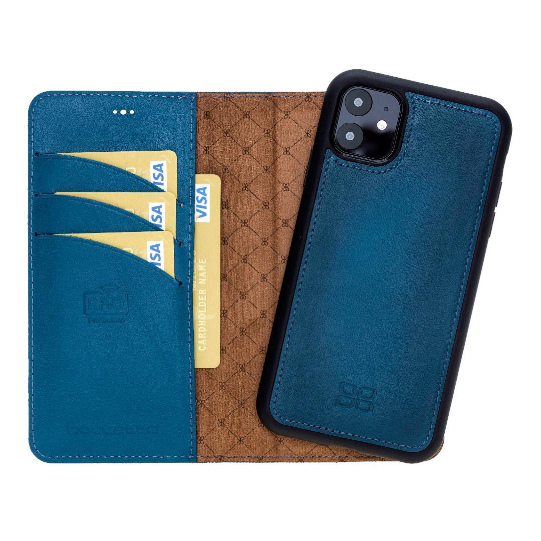 Husa piele naturala 2 in 1, tip portofel + back cover, iPhone 11 - Bouletta Magic Wallet, Burnished blue