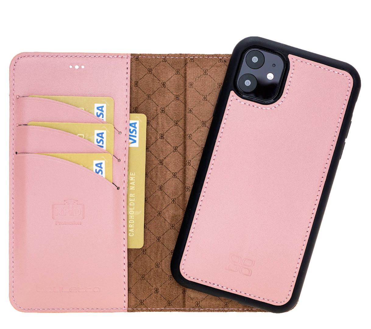 Husa piele naturala 2 in 1, tip portofel + back cover, iPhone 11 - Bouletta Magic Wallet, Roz nude