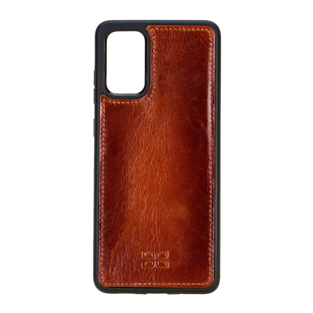 Husa slim piele naturala + rama TPU moale, back cover, Samsung Galaxy S20 Plus - Bouletta, Burnished tan