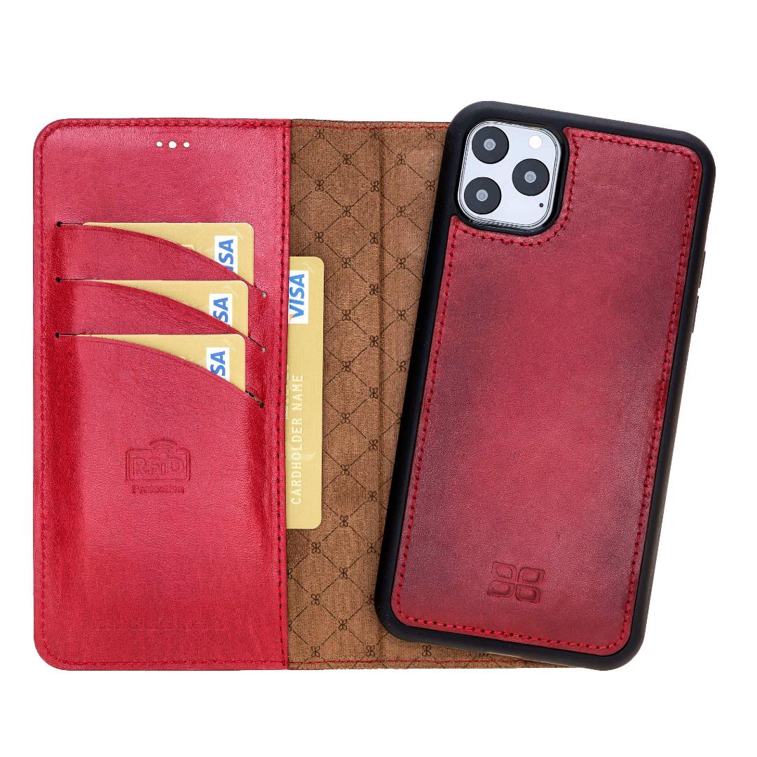 Husa piele naturala 2 in 1, tip portofel + back cover, iPhone 11 Pro - Bouletta Magic Wallet, Burnished red