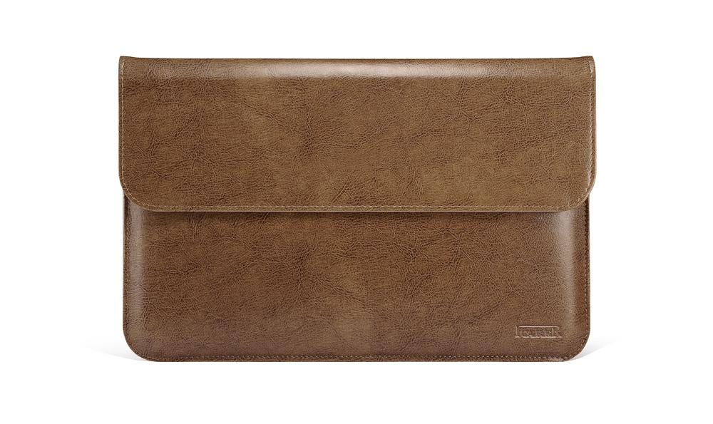 Husa piele naturala, tip plic, inchidere magnetica - Apple Macbook Air 13 inch / MacBook Pro 13 inch - iCarer Vintage, Maro