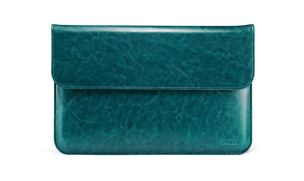 Husa piele naturala, tip plic, inchidere magnetica - Apple Macbook Air 13 inch / MacBook Pro 13 inch - iCarer Vintage,Turcoaz