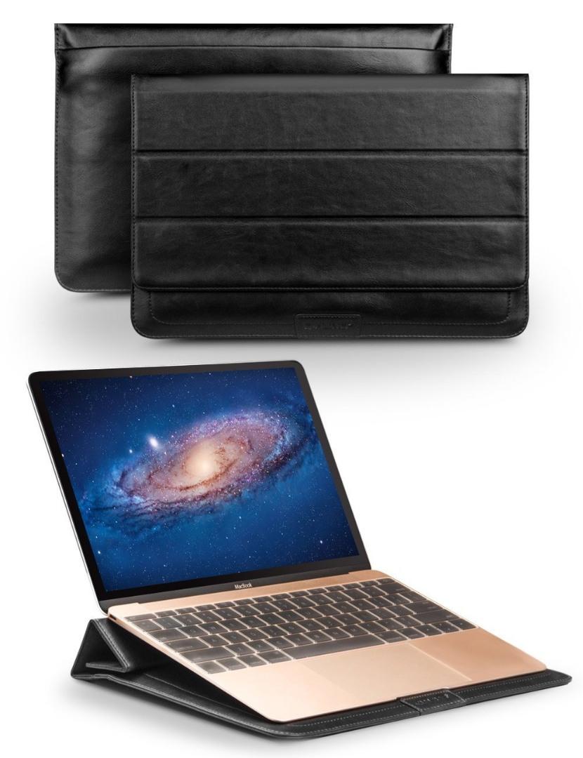 Husa piele naturala, tip plic, inchidere magnetica - Apple Macbook Air 11 inch / Macbook 12 inch / Ultrabook 12 inch - Qialino Sleeve, Negru