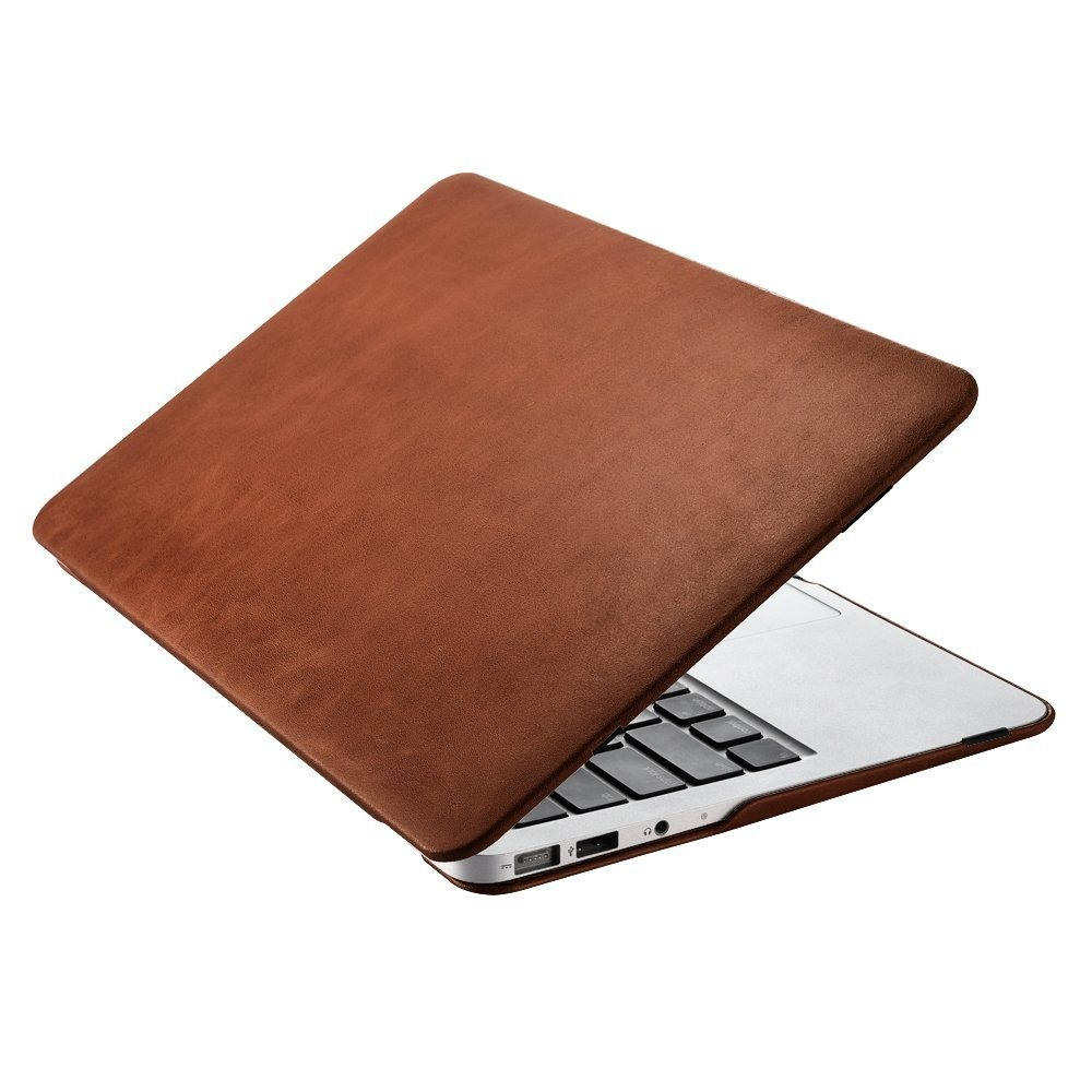 Husa din piele naturala, tip carcasa, MacBook Air 11 inch - iCarer Vintage, Maro coniac