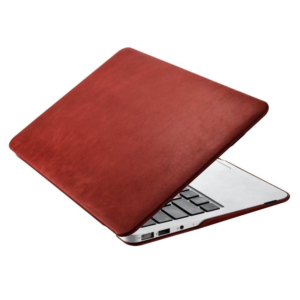 Husa din piele naturala, tip carcasa, MacBook Air 11 inch - iCarer Vintage, Rosu burgund