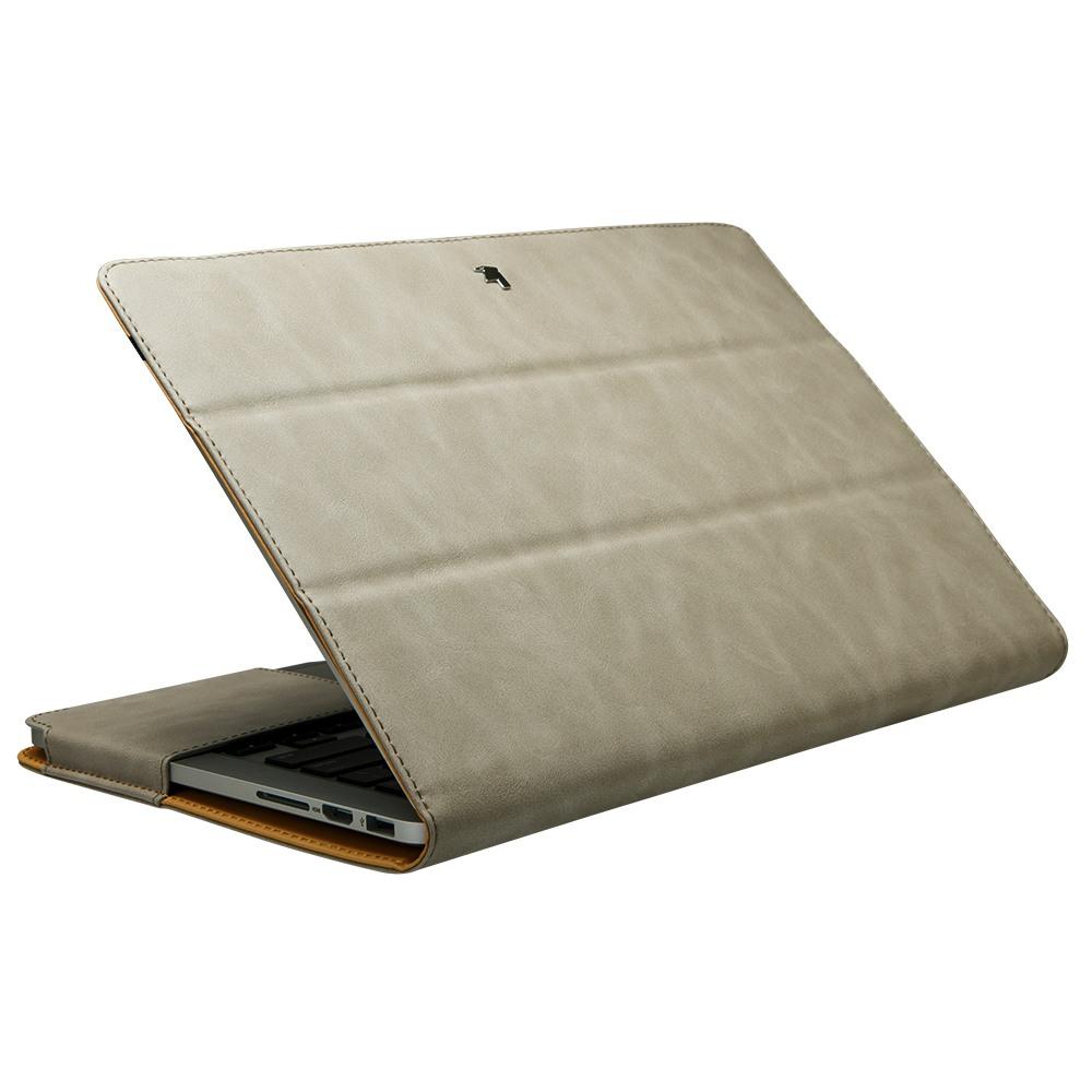 Husa piele microfibra, protectie completa, functie stand, MacBook Pro 13 inch (2016 - 2020) - Jison Case, Gri