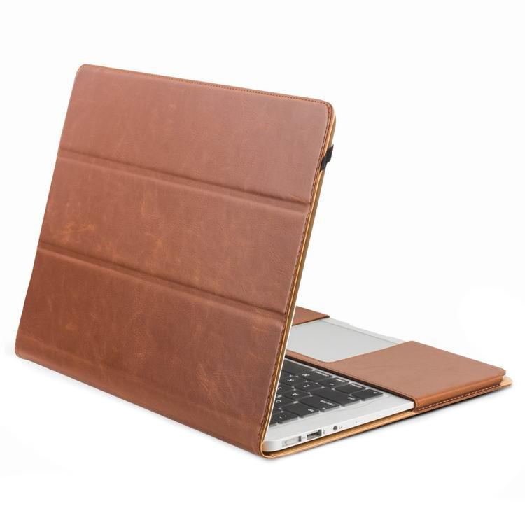 Husa din piele naturala cu functie stand, protectie laptop completa, MacBook Pro / Retina 13 inch (2012 - 2015) - Qialino Folio, Maro