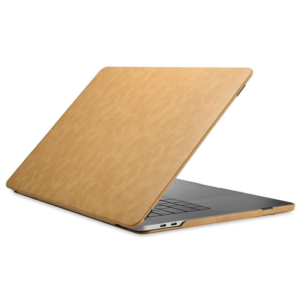 Husa din piele microfibra tip carcasa, MacBook Pro 13 inch (2016 - 2020) - iCarer, Camel