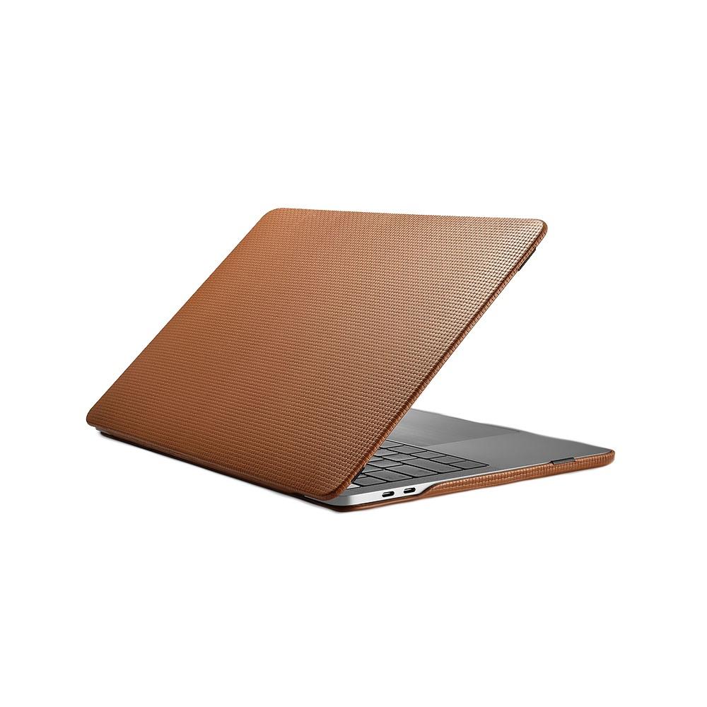 Husa din piele naturala tip carcasa, MacBook Pro 15 inch (2016 - 2019) - iCarer Woven, Maro