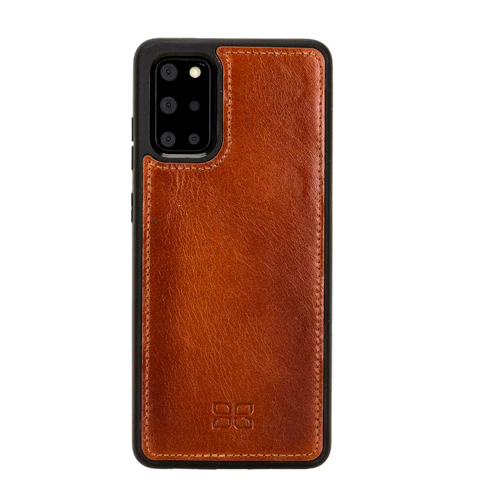 Husa slim piele naturala + rama TPU moale, back cover, Samsung Galaxy S20 Plus - Bouletta, Burnished tan