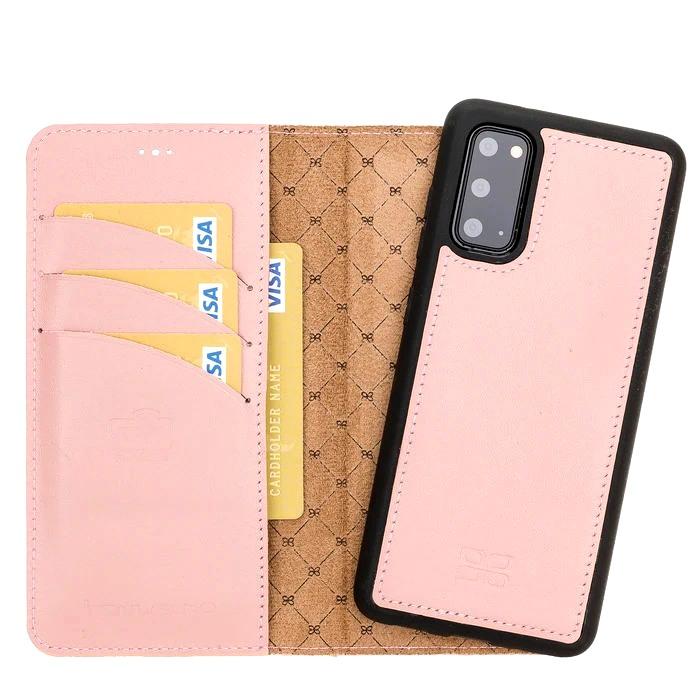 Husa piele naturala 2in1, portofel + back cover, Samsung Galaxy S20 - Bouletta Magic Wallet, Roz nude