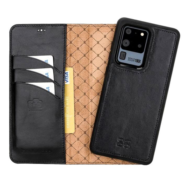 Husa piele naturala 2in1, portofel + back cover, Samsung Galaxy S20 Ultra - Bouletta Magic Wallet, Rustic black
