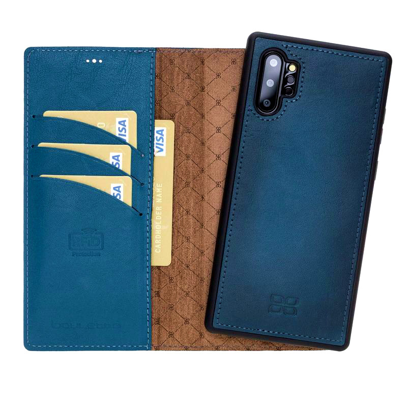 Husa piele naturala 2in1, portofel + back cover, Samsung Galaxy Note 10 Plus - Bouletta Magic Wallet, Burnished blue