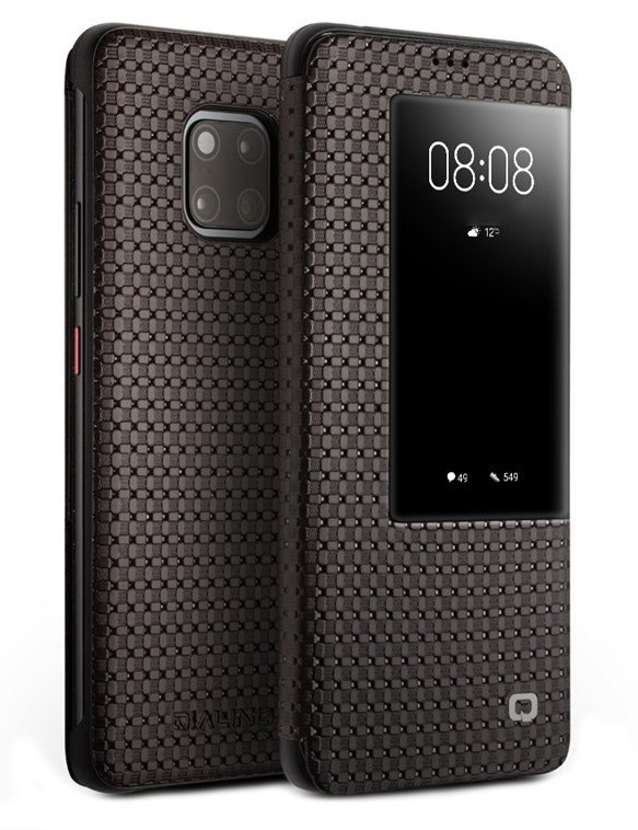 Husa slim din piele naturala, smart cover, Huawei Mate 20 Pro - Qialino Grid Leather, Maro coffee