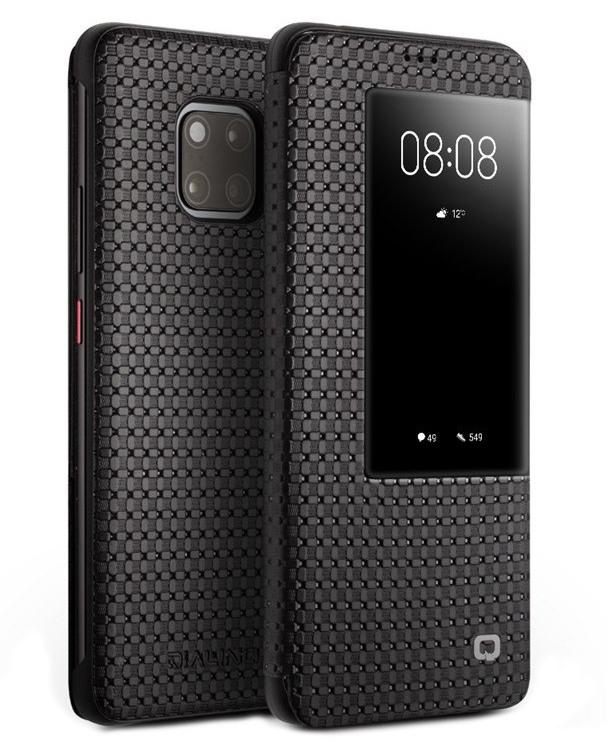 Husa slim din piele naturala, smart cover, Huawei Mate 20 Pro - Qialino Grid Leather, Negru
