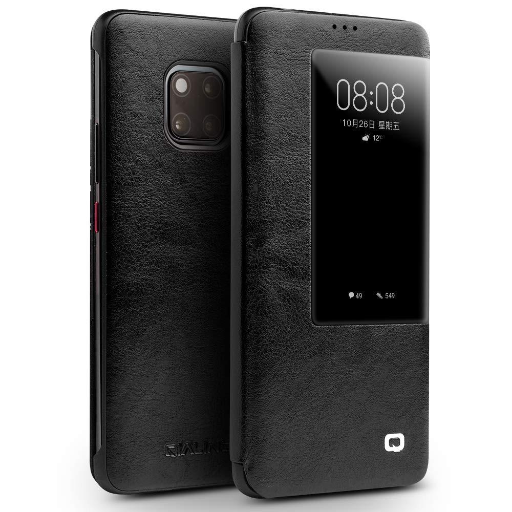 Husa slim din piele fina naturala, smart cover, Huawei Mate 20 Pro - Qialino Smart Leather, Negru