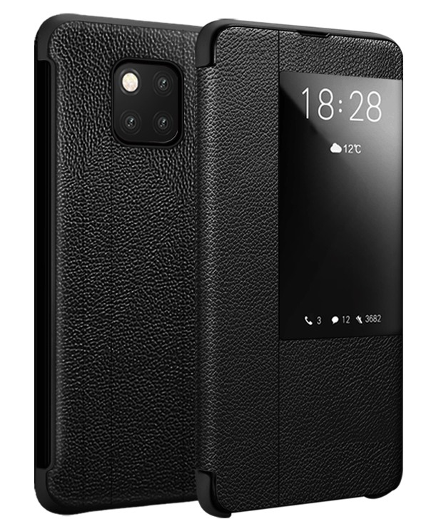 Husa slim piele naturala, smart cover, Huawei Mate 20 Pro, Xoomz by iCarer Litchi Smart, Negru