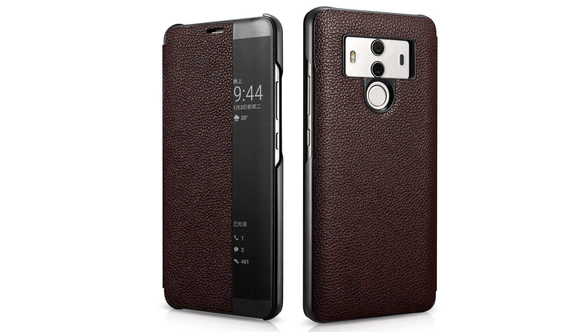 Husa slim piele naturala, smart cover, Huawei Mate 10 Pro, Xoomz by iCarer Litchi Smart, Maro coffee