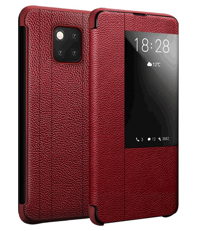 Husa slim piele naturala, smart cover, Huawei Mate 20 Pro, Xoomz by iCarer Litchi Smart, Rosu
