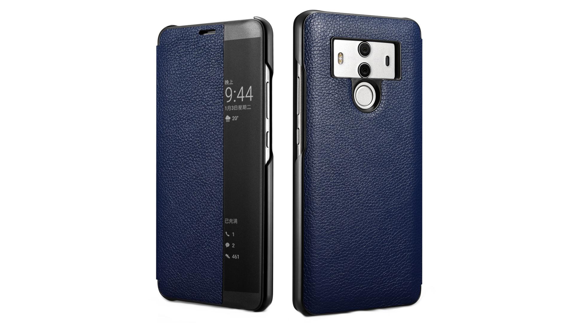 Husa slim piele naturala, smart cover, Huawei Mate 10 Pro, Xoomz by iCarer Litchi Smart, Albastru