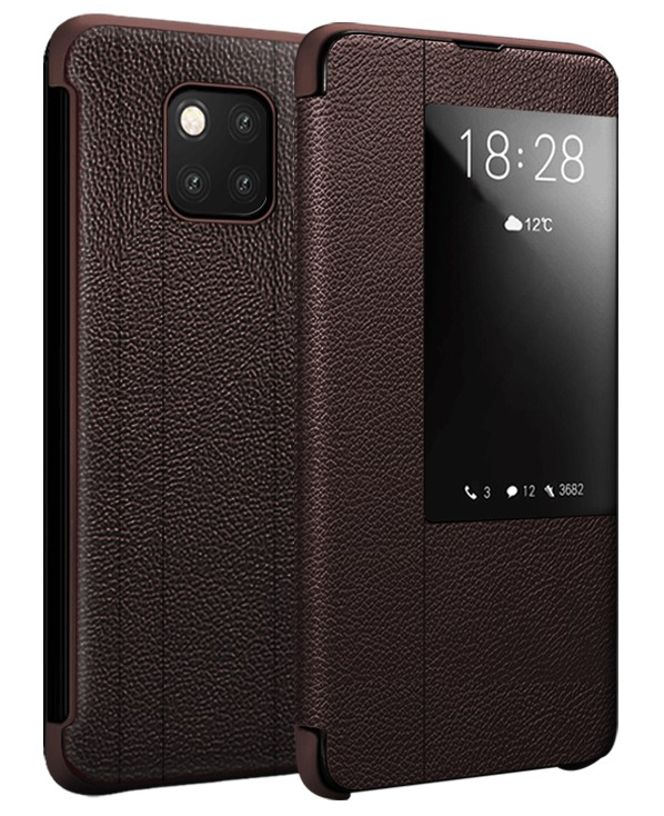 Husa slim piele naturala, smart cover, Huawei Mate 20 Pro, Xoomz by iCarer Litchi Smart, Maro coffee